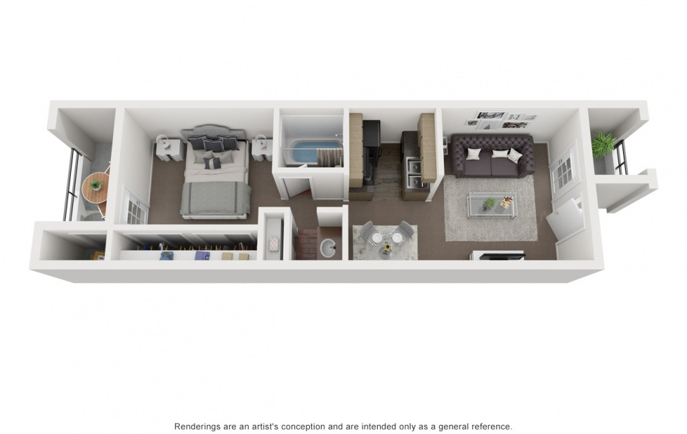A1 - 1 bedroom floorplan layout with 1 bath and 456 square feet. (3D)