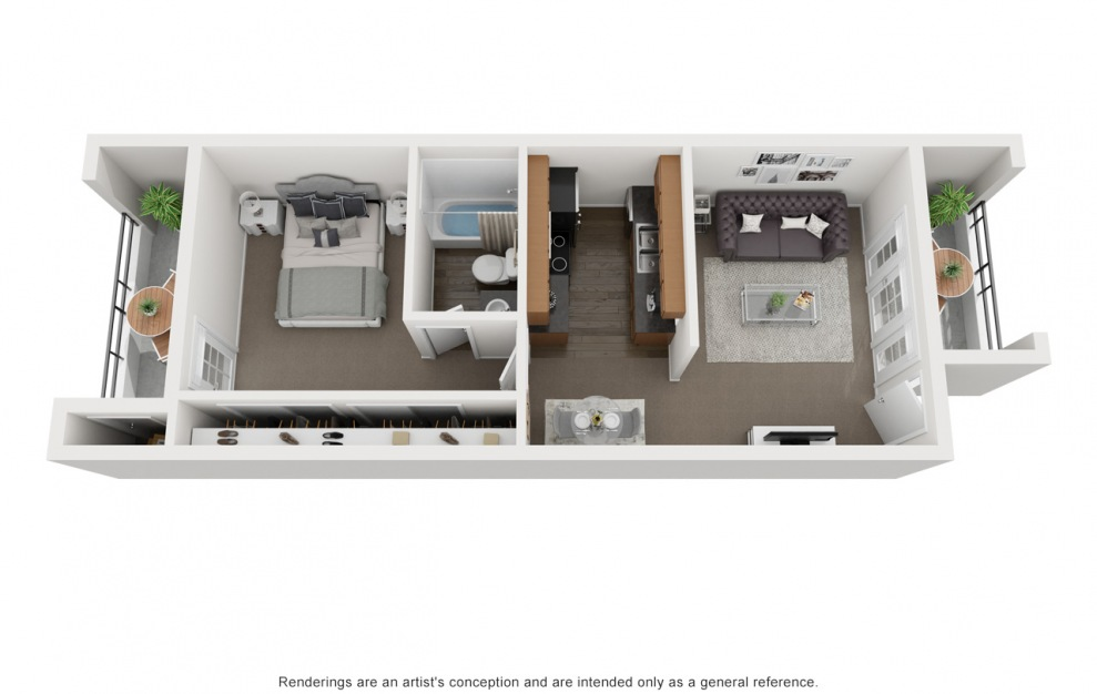 A2 - 1 bedroom floorplan layout with 1 bath and 456 square feet. (3D)