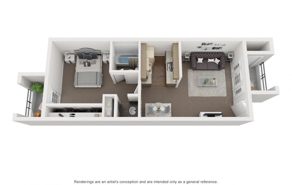 A3 - 1 bedroom floorplan layout with 1 bath and 554 square feet. (3D)