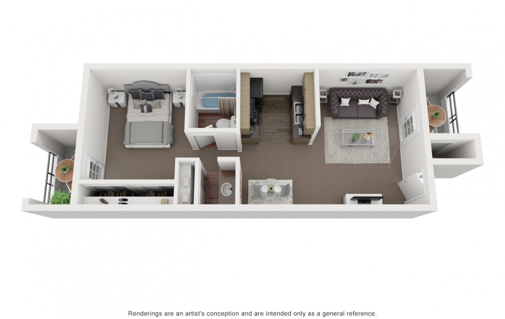 A4 - 1 bedroom floorplan layout with 1 bath and 585 square feet. (3D)