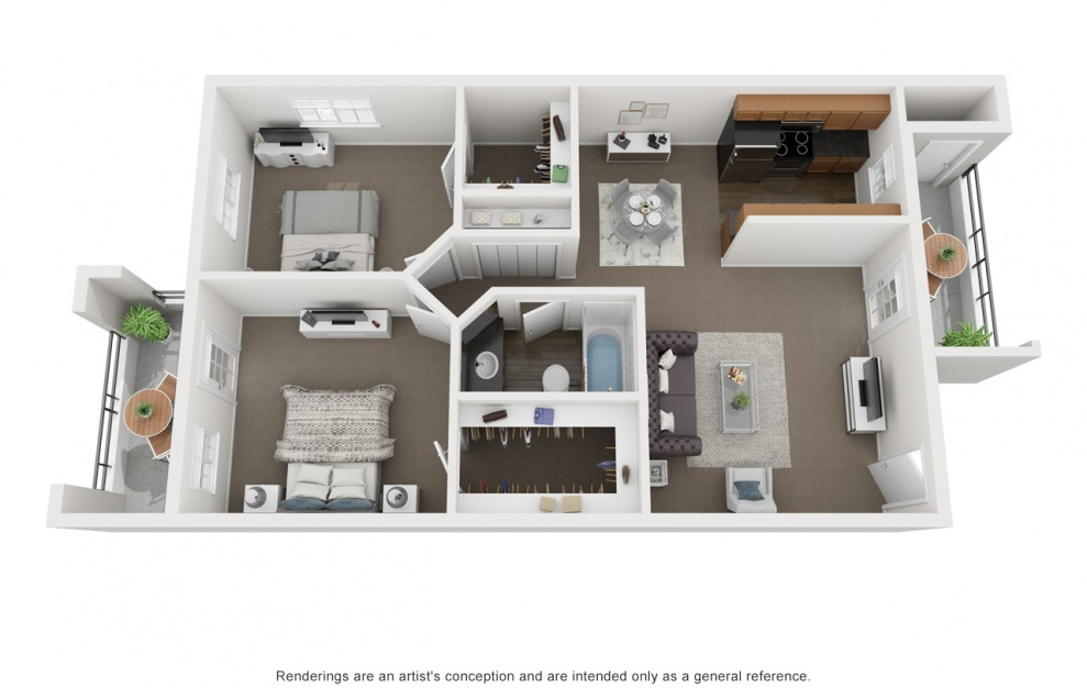 B1 - 2 bedroom floorplan layout with 1 bath and 759 square feet. (3D)