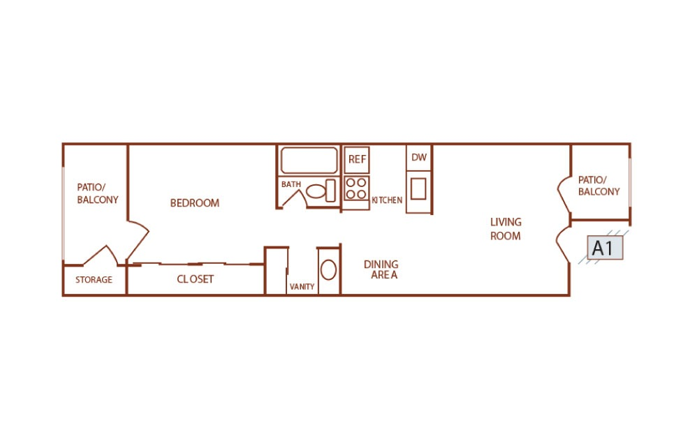 A1 - 1 bedroom floorplan layout with 1 bath and 456 square feet. (2D)