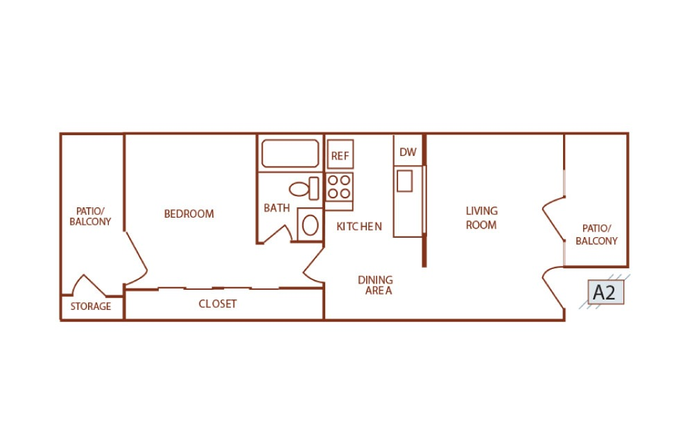 A2 - 1 bedroom floorplan layout with 1 bath and 456 square feet.