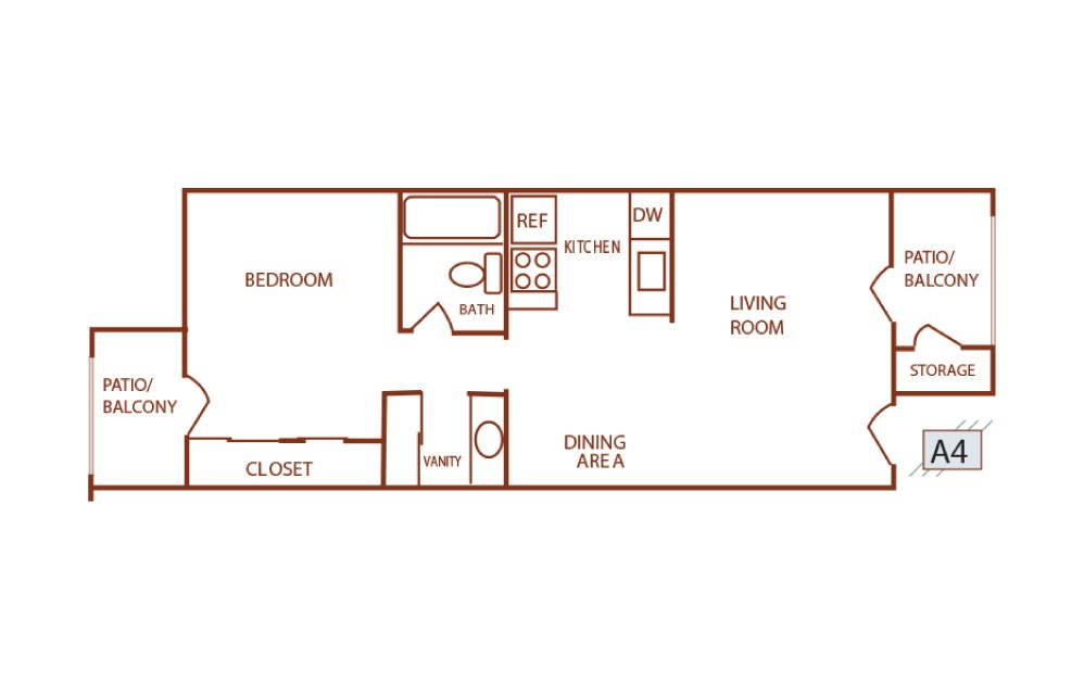 A4 - 1 bedroom floorplan layout with 1 bath and 585 square feet.