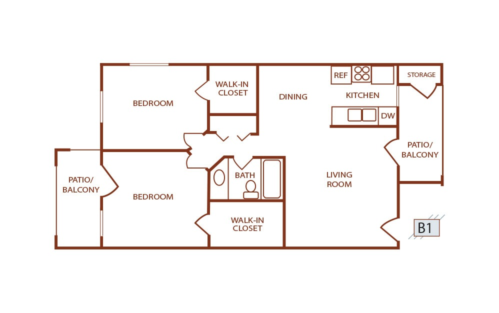 B1 - 2 bedroom floorplan layout with 1 bath and 759 square feet. (2D)